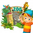 Cartoon zoo, amusement park, illustration for the children — Stock Photo