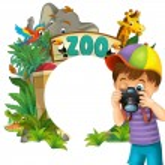Cartoon zoo, amusement park, illustration for the children — Stock Photo #28569547