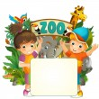 Cartoon zoo, amusement park, illustration for the children with space for text — Stock Photo #28569557