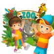 Stock Photo: Cartoon zoo, amusement park, illustration for the children