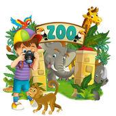 Cartoon zoo, amusement park, illustration for the children — Stock Photo