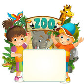 Cartoon zoo, amusement park, illustration for the children with space for text — Stock Photo