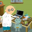 Old professor in lab illustration — Stock Photo