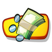 Money stack and coins illustration — Stock Photo