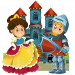 The cartoon medieval illustration- princess and knight - for children — Stock Photo