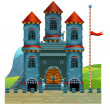 The cartoon medieval illustration of castle - for the children — Stock Photo
