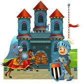The cartoon medieval illustration of a knight - for the children — Stock Photo