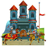 The cartoon medieval illustration for the children — Stock Photo