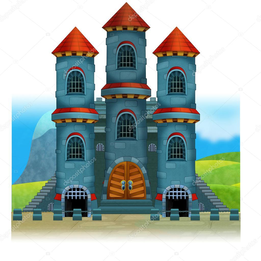 Illustrazione medievale del castello cartone animato per