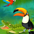 Cartoon tropical. crocodile and parrots — Stock Photo
