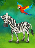 Cartoon tropical or safari. zebra and parrot — Stock Photo