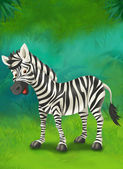 Cartoon tropical or safari. zebra — Stock Photo