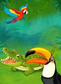 Cartoon tropical. crocodile and parrots — Stock Photo