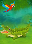 Cartoon tropical. crocodile and parrot — Stock Photo