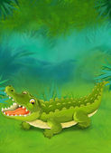 Cartoon tropical. crocodile — Stock Photo