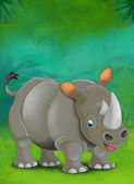 Cartoon tropical or safari. Rhino — Stock Photo