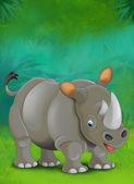 Cartoon tropical or safari. Rhino — Stock Photo