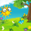 The happy and colorful illustration of sun with glasses for the children — Stock Photo #29970993
