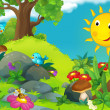 The happy and colorful illustration of sunny day with bird for the children — Stock Photo #29971049