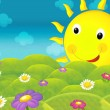 The happy and colorful illustration of field and smiley sun for the children — Stock Photo