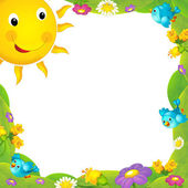 Happy and colorful frame with field and sun for the children. with space for text — Stock Photo
