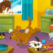 Room with animals. Cartoon — Stock Photo