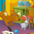 Cartoon room with animals — Stockfoto