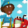 Post Woman delivering mail. Cartoon style illustration — Stock Photo