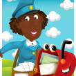 Post Woman delivering mail. Cartoon style illustration — Foto de Stock