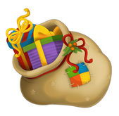 The christmas presents in the santa bag — Stock Photo