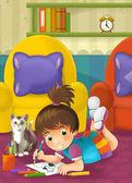 Dziecko rysowania kreskówek — Zdjęcie stockowe