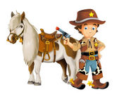 Cowboy with horse and gun — Foto de Stock