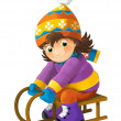 Cartoon child on sledge — Stock Photo