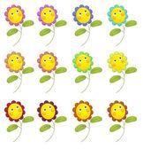 Cartoon flowers isolated — Stock Photo