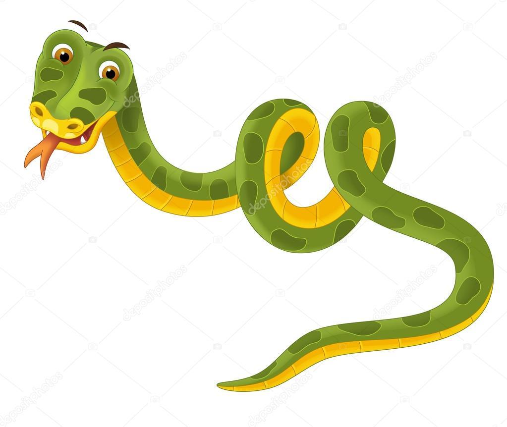 Cartoon Snake Illustration For The Children Stock
