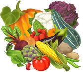 Cartoon vegetables — Stock Photo