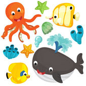 Sea  animals  illustration — Stock Photo