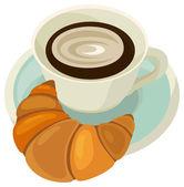 Cartoon food - coffee with croissant — Stock Photo