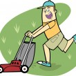 Man Mowing Lawn — Stock Vector #26886117