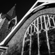Black and white image of a church in Cape May, New Jersey.  — Stock Photo