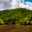 Kayakers in the Lehigh River, located in the Pocono Mountains of — Stock Photo