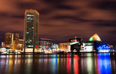 Long exposure of the colorful Baltimore skyline at night, Maryla — Stock Photo