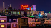 The Domino Sugars Factory at night from Federal Hill, Baltimore, — Stock Photo