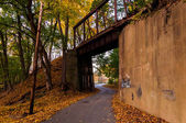 Railroad bridge seen during autumn in York County, Pennsylvania. — Stock Photo