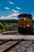 A CSX train approaching a road crossing in Brunswick, Maryland. — Stock Photo