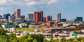 View of the skyline and industrial areas from I-95 in Baltimore, — Stock Photo