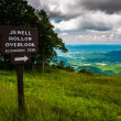 Overlook sign and view on Skyline Drive in Shenandoah National P — Stock Photo