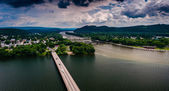 View of the Susquehanna River and town of Northumberland, Pennsy — Stock Photo
