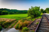 Farm and creek along railroad tracks in Southern York County, PA — Stock Photo