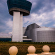 The exterior of the Air and Space Museum Udvar-Hazy Center on a — Stock Photo